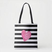 Black and White Stripe Pink Heart Monogram Tote Bag