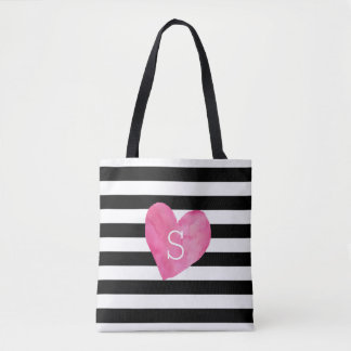 Black and White Stripe Pink Heart Monogram Tote Bag