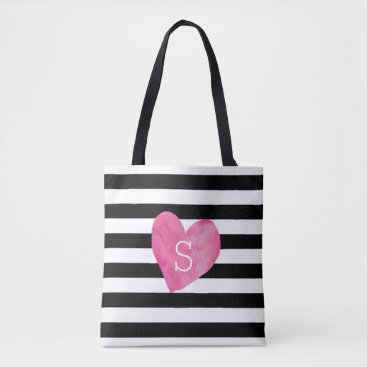 Valentines Themed Black and White Stripe Pink Heart Monogram Tote Bag