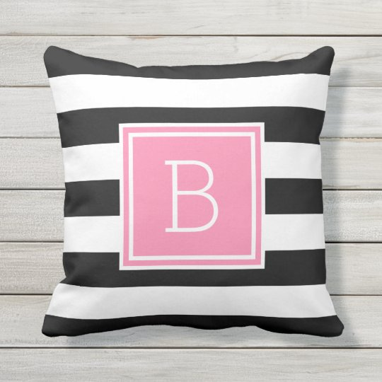 Black and White Stripe Pink Monogram Outdoor Outdoor Pillow