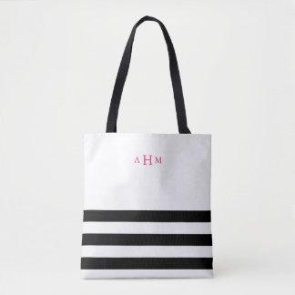 Black and White Stripe Pink Monogram Tote Bag