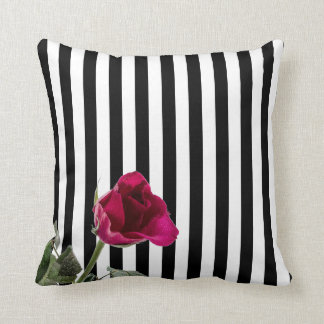Black and White Stripe Pink Rose Throw Pillow