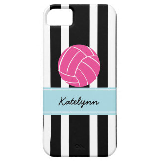 Black and White Stripe Pink Volleyball iPhone Case iPhone 5 Case
