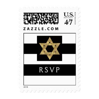 Black and white stripe RSVP stamp for Bar Mitzvah