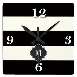 Black and White Stripe Square Wall Clock