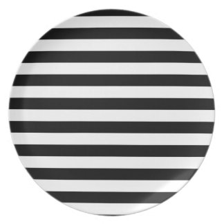Black and White Stripe | Striped Design Dinner Plate