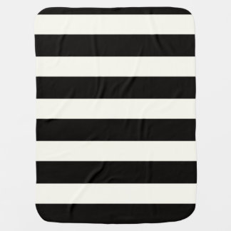 Black and White Stripe Stroller Blanket