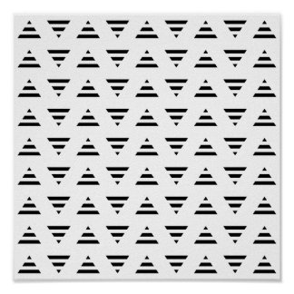 Black and White Stripe Triangles Pattern. Poster