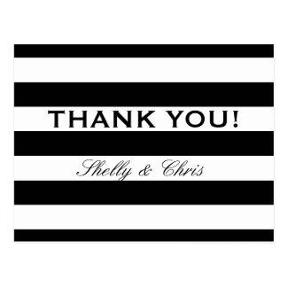 Black and white stripe wedding thank you postcards