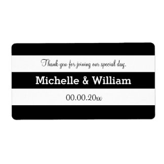 Black and white stripe wedding water bottle labels