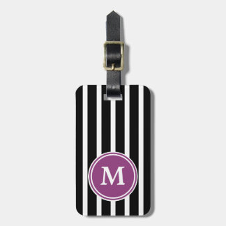 Black and White Stripe With Berry Monogram Luggage Tag