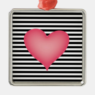 Black and White Stripe with Big Pink Heart Metal Ornament
