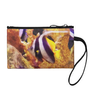 Black and White Striped Angelfish Change Purses