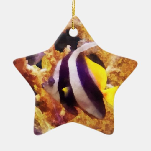Black and White Striped Angelfish Christmas Tree Ornaments