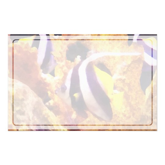 Black and White Striped Angelfish Stationery