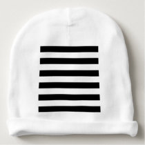 Black and White Striped Baby Beanie