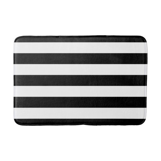 Black and white striped bath mat zazzle for Black and white bathroom mats