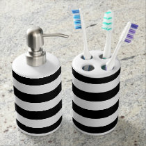 Black and White Striped Bath Set
