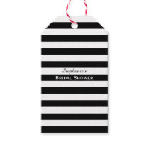 Black and White Striped Bridal Shower Gift Tags