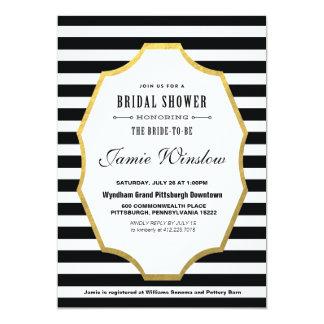 Black and White Striped Bridal Shower Invitation