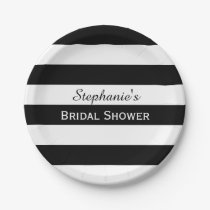 Black and White Striped Bridal Shower Paper Plate