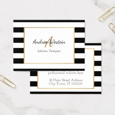 Professional Business Black and White Striped Business Cards