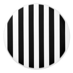 Black and White Striped Ceramic Knob