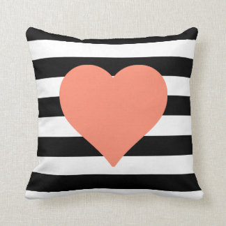Black and White Striped Coral Heart Throw Pillow