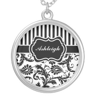 Black and White Striped Damask Necklace