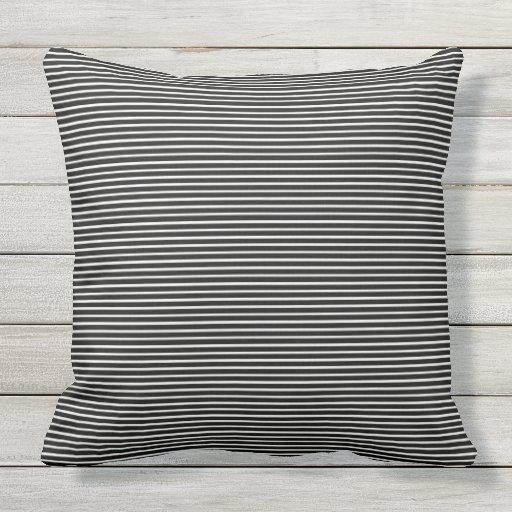 Black And White Striped Decorative Outdoor Pillow Zazzle