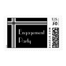 Black and White Striped Engagement Party Stamp