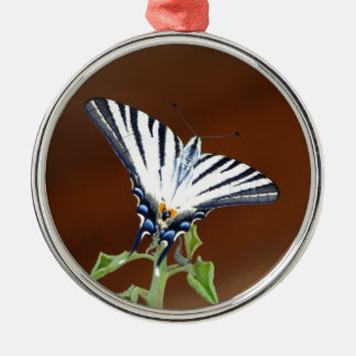 Black and White Striped Fantail Butterfly Silver-Colored Round Decoration