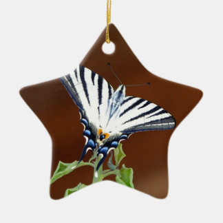 Black and White Striped Fantail Butterfly Ceramic Star Decoration