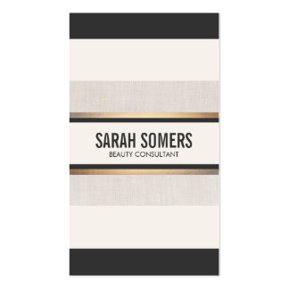 Black and White Striped Faux Gold Foil Chic Double-Sided Standard Business Cards (Pack Of 100)