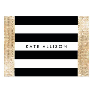 Black and White Striped FAUX Gold Sequin Beauty Large Business Cards (Pack Of 100)