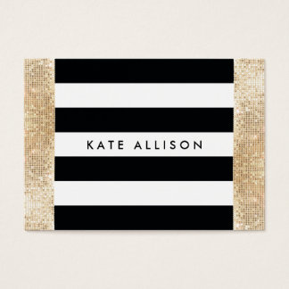 Black and White Striped FAUX Gold Sequin Beauty Business Card