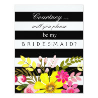 contemporary modern stylish hip cool Black and White Striped Flowers Bridesmaid Request 4.25x5.5 Paper Invitation Card