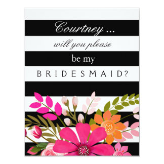 Black and White Striped Flowers Bridesmaid Request 4.25x5.5 Paper Invitation Card