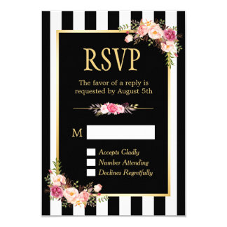 Black and White Striped Flowers Gold Frame RSVP Card