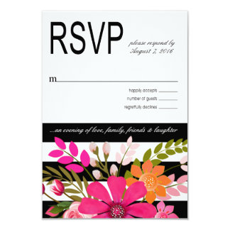 Black and White Striped Flowers RSVP fuchsia Card
