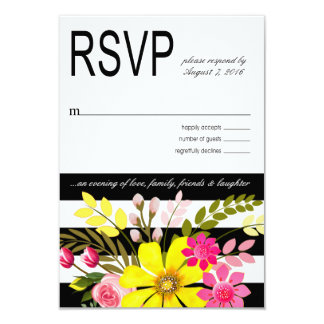 Black and White Striped Flowers RSVP yellow Card