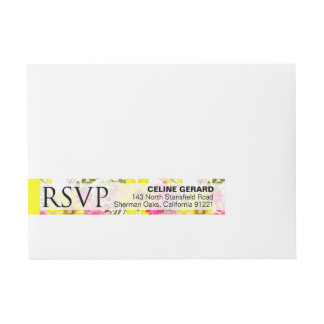 Black and White Striped Folklore Flowers | yellow Wrap Around Address Label