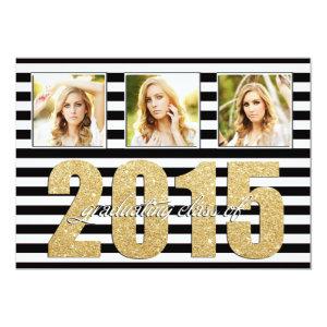 Black and White Striped, Glitter Gold Graduation 5x7 Paper Invitation Card