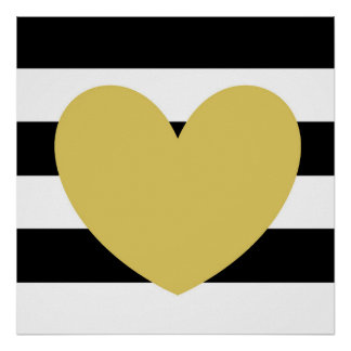 """Black and White Striped, Gold Heart 24""""x24"""" Poster"""