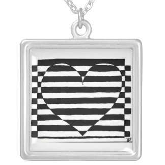 Black and White Striped Heart Necklace
