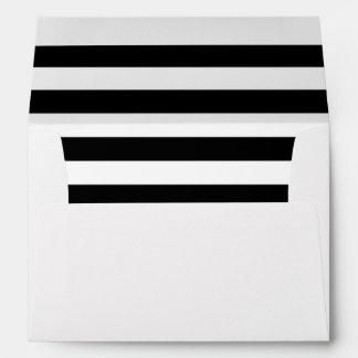 Black and White Striped Inside Lined Envelope