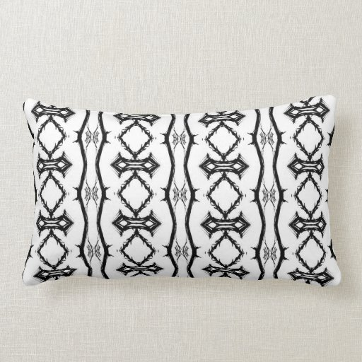 black and white striped lumbar pillow zazzle. Black Bedroom Furniture Sets. Home Design Ideas