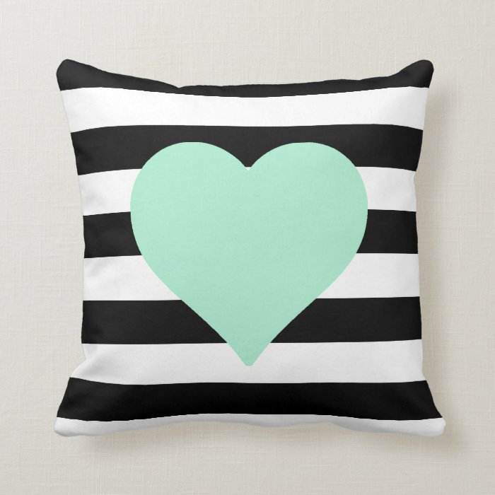 Black and White Striped Mint Heart Throw Pillow Zazzle