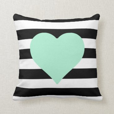 Valentines Themed Black and White Striped Mint Heart Throw Pillow