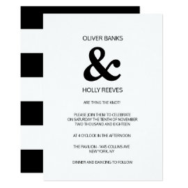 Black and white striped modern wedding invitation